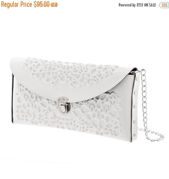 Hochzeit - On Sale / Vegan bridal bag / white clutch purse / clean white vinyl / beautiful floral print / tuck-in chain strap / an urban wedding / I do