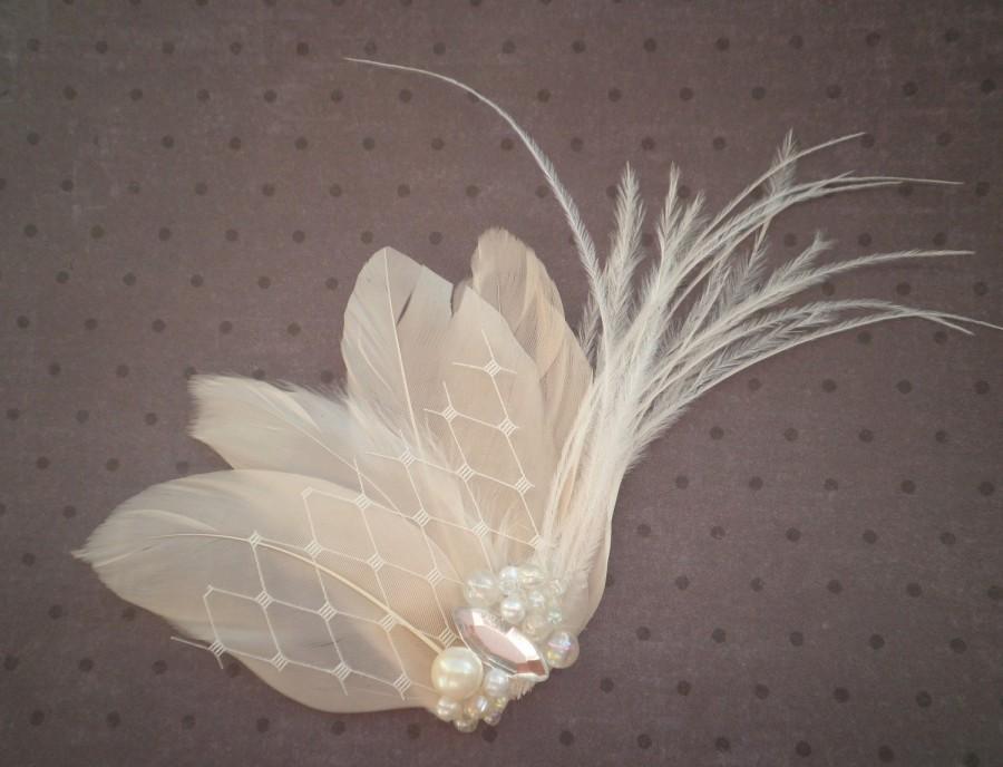 Hochzeit - Wedding, Feather, Hair, Accessory, Fascinator, Bridal -IVORY WHISPER