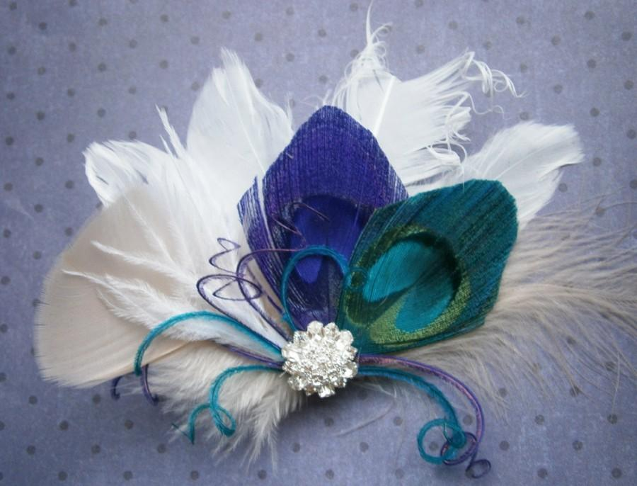 Свадьба - Peacock Wedding Feather, Hair Accessories, Feather Hair PIece, purple, teal, peacock, feather hair clip, emerald - TEAL and PURPLE FANTASIES