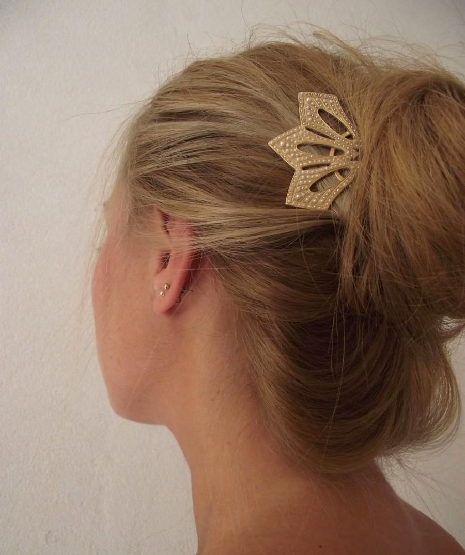 Свадьба - Gold Hair Comb, Victorian style jewelry, Wedding Hair comb, Wedding Jewelry, Pearl hair comb, Bridal hair comb, Victorian Bride hair Jewelry