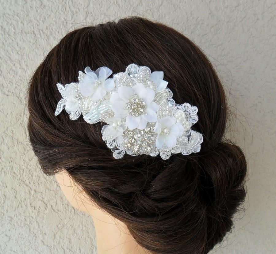 Свадьба - Bridal Hairpiece, Lace Hair Comb, Wedding Headpiece, Rhinestone Hair Comb, Bridal Hair Accessory, Wedding Hair Comb, Lace Hair Comb, Vintage
