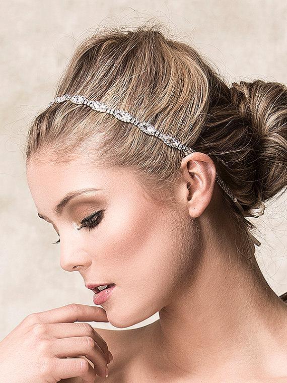 Свадьба - Bridal Hair Accessories, Bridal Wedding Headband, Swarovski Crystal Headband, Art Deco Single Strand Oval Rhinestone Headband (CHRISTINE)