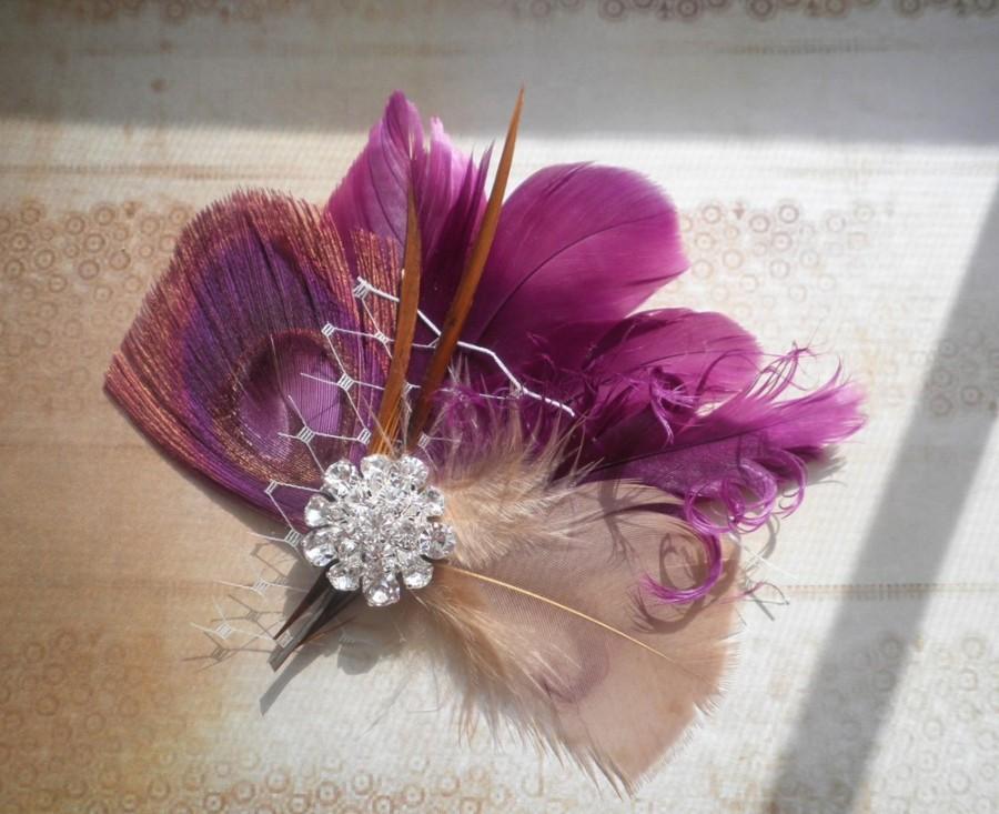 Свадьба - Plum, purple, Bridal, Feather, Facinator, Peacock, Hair, Piece, Wedding, Hair, Accessory, accessories, clip, fascinators - PLUM LOVE