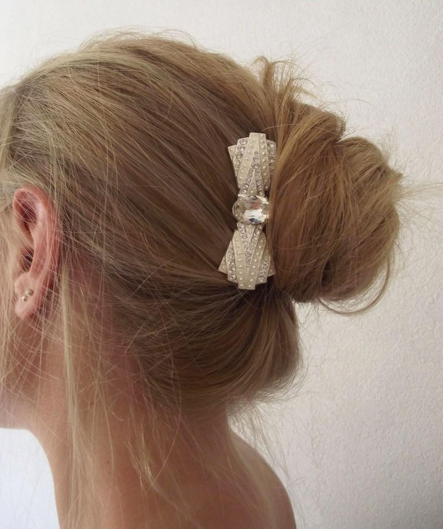 Свадьба - Sale! Ready to ship Wedding Hair Comb, pearl and crystal hairpiece, Swarovski oval rhinestone comb, Bridal Hair accessory, Wedding accessory