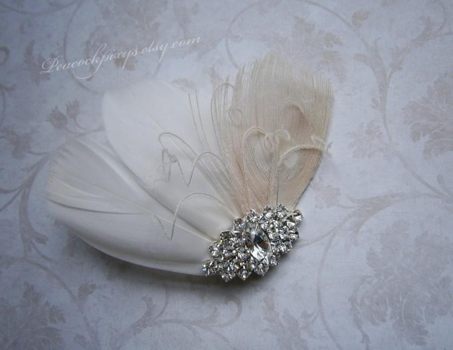 Свадьба - Wedding, Hair, Accessories, Peacock, Feather, Facinator, off, white, weddings, clip, Ivory, Peacock, Bridal, Bride - PETITE White PRINCESS
