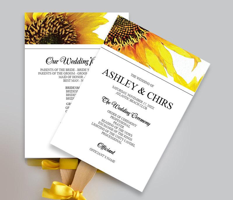 Printable Yellow Sunflower Wedding Program Fan - Diy Schedule Of