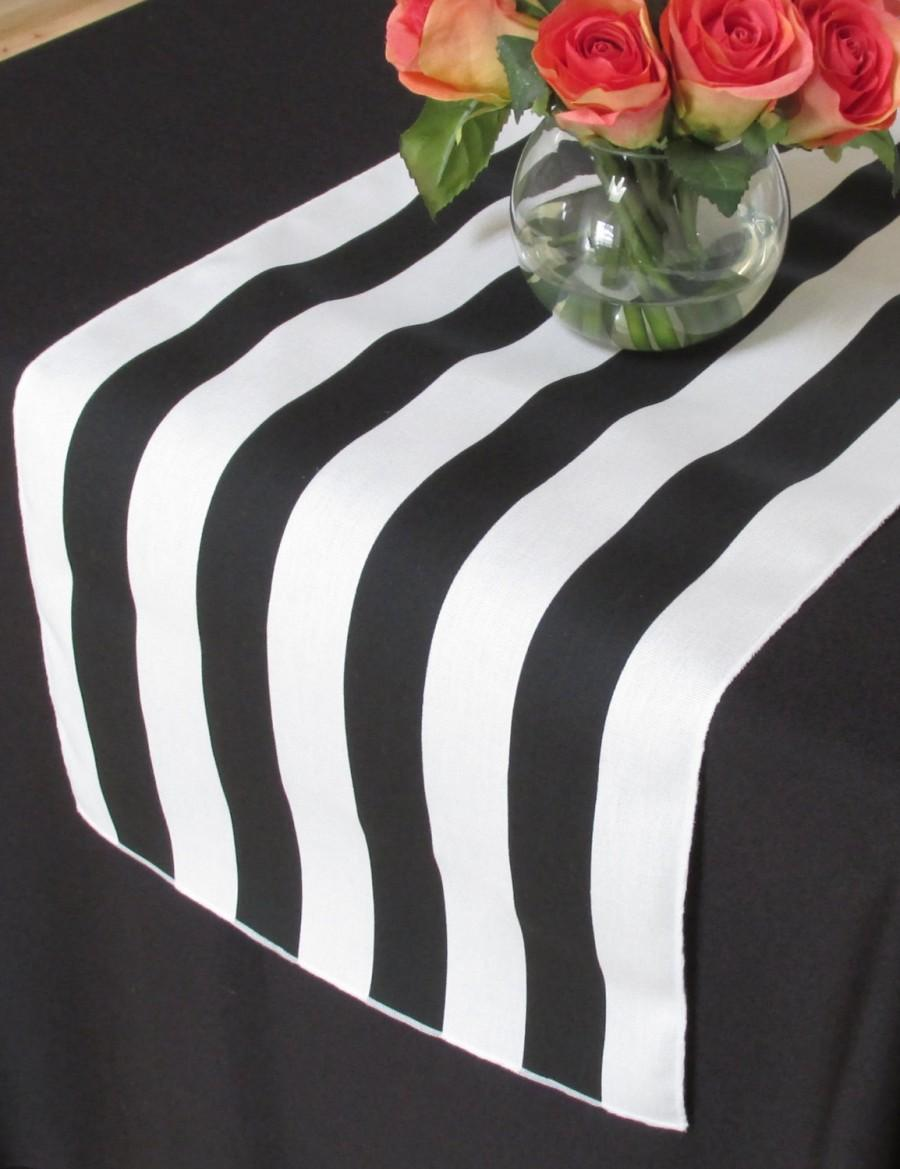 Hochzeit - White and black stripe table runner - white edge - Select A Size - ON SALE