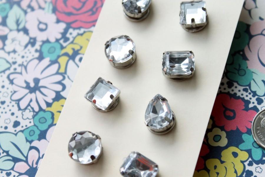 Свадьба - Chic Diamond Thumbtacks Pushpins / 8 Push Pins Jeweled Thumb Tacks