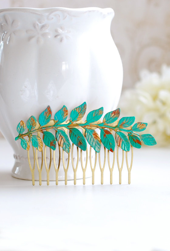Mariage - Leaf Hair Comb Verdigris Leaf Teal Blue Patina Brass Leaf Branch Hair Comb Woodland Hair Accessory Bohemian Style