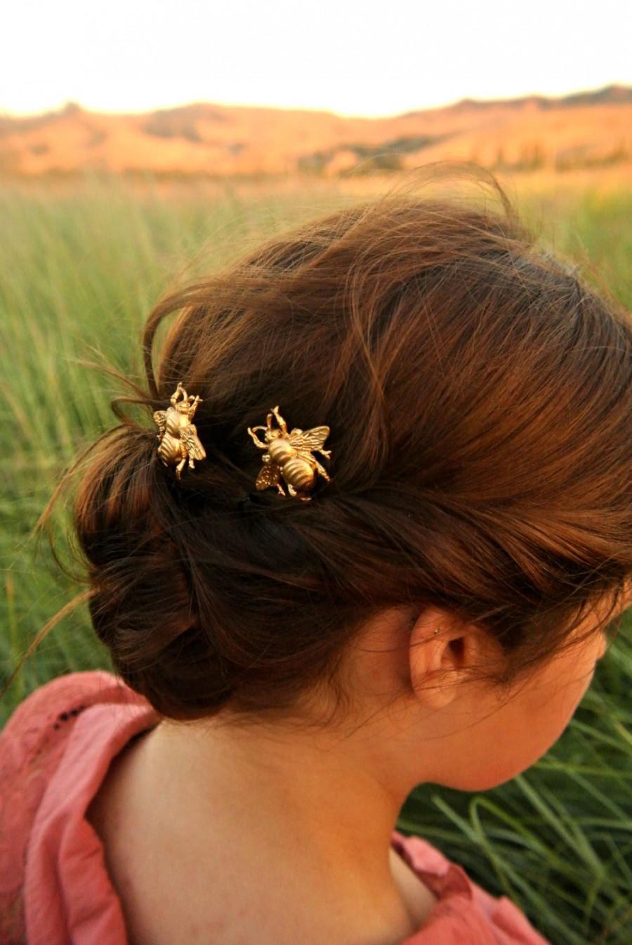 Mariage - Bee Hair Pin Gold Bumble Bee Bobby Pins Brass Hair Pins Bee Hair Clips