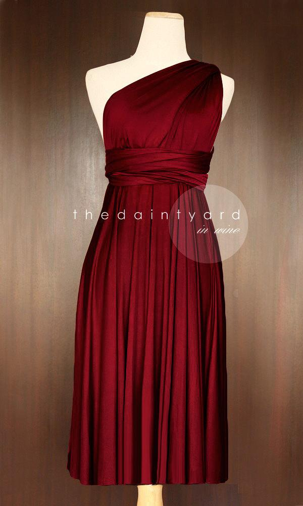 زفاف - Short Straight Hem Wine red Bridesmaid Dress Convertible Dress Infinity Dress Multiway Dress Wrap Dress Cocktail Dress Twist Wrap Dress