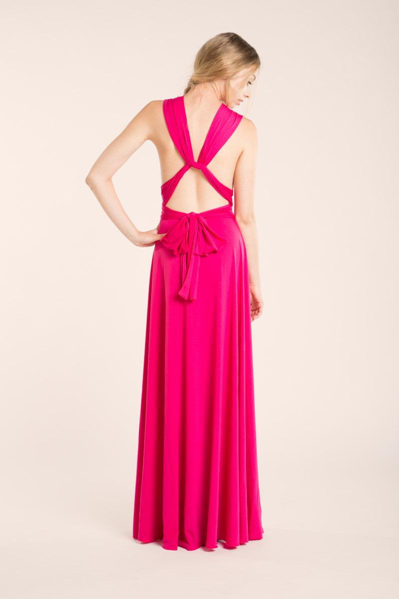 Pink Bridesmaid Dress Long Fuchsia Hot Maxi Infinity Gown Party