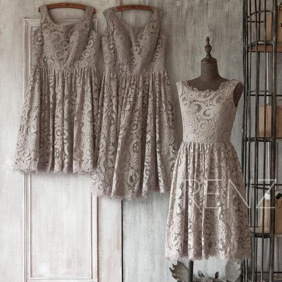 2015 Grey Bridesmaid Dress Short Gray Lace Wedding Dress