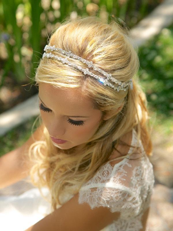 Crystal Double Strand Bridal Headband Silver Rhinestone Headpiece Wedding Halo Tiara Accessories Tie On