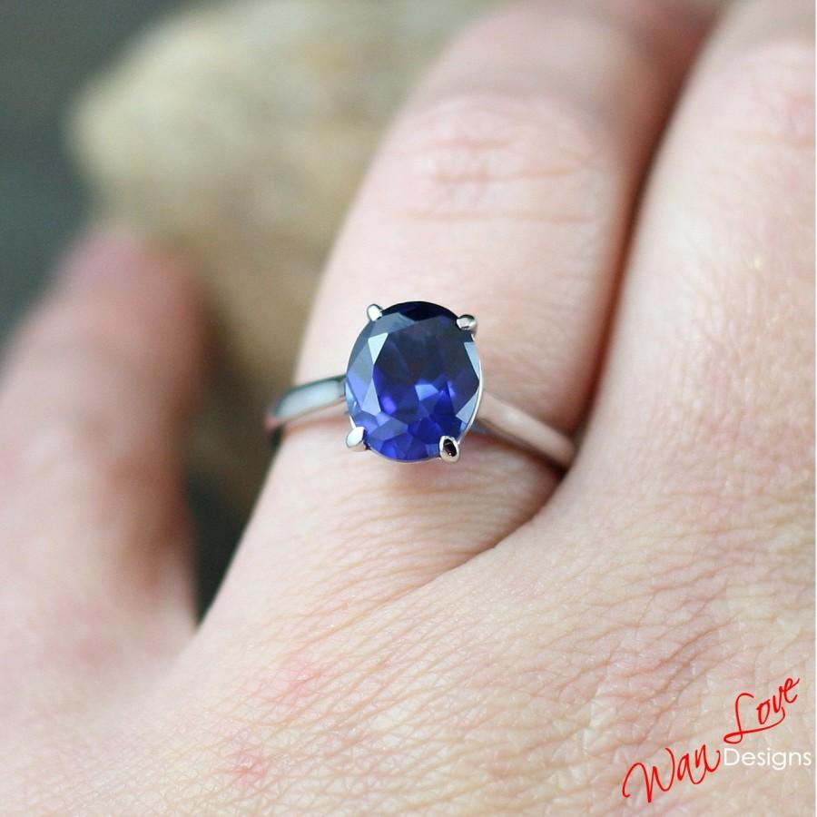 Mariage - Blue Sapphire Solitaire Oval Engagement Ring 3.5ct 10x8mm 14k 18k White Yellow Rose Gold-Platinum-Custom-Wedding-Anniversa-4 prong Cathedral