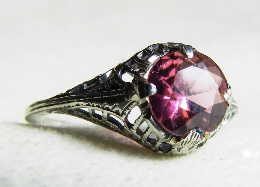 Свадьба - Engagement Ring Tourmaline Engagement Ring 1920s Edwardian Antique Engagement Ring 14K Art Deco Engagement Ring October Birthday