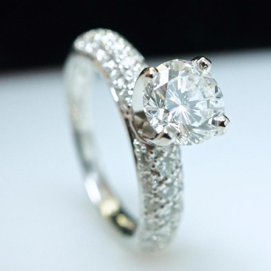 Свадьба - Diamond Engagement Ring Solitaire Platinum Diamond Ring Pave Natural Diamond Ring