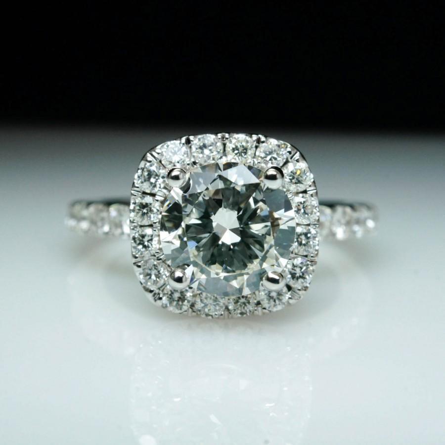 Свадьба - Diamond Engagement Ring Round Brilliant Halo Ring 14k White Gold Natural Diamond Wedding Set Available
