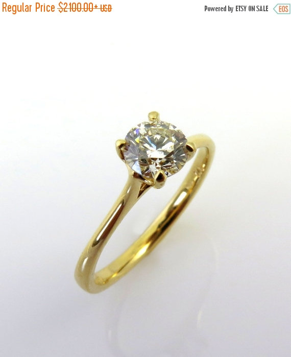 Mariage - ON SALE Solitaire engagement ring, 14k gold ring, Classic engagement ring, Thin diamond ring, Diamond engagement ring, Delicate diamond ring