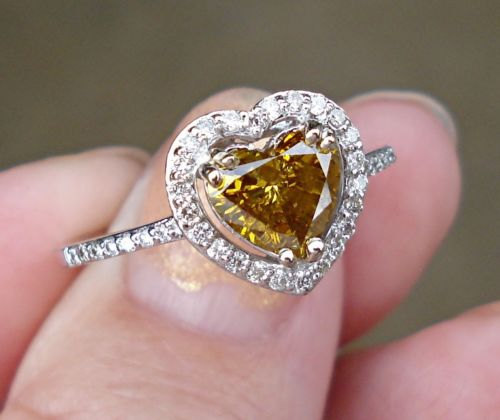 Hochzeit - Natural Yellow Diamond Heart Ring - 14K White Gold Engagement Ring
