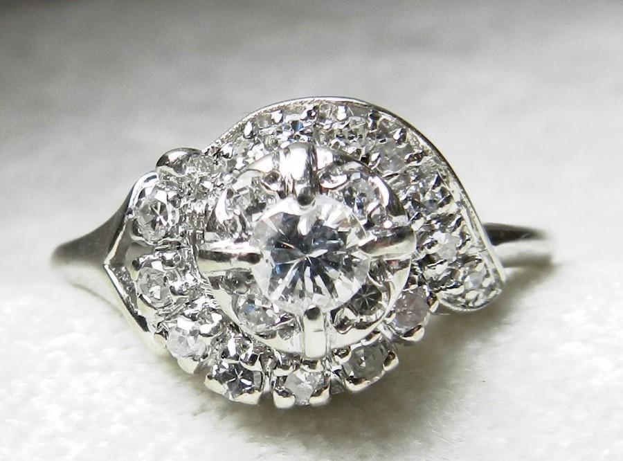 Hochzeit - Antique Engagement Ring .80 Ct 1920s Art Deco Engagement Orange Blossom Transitional Cut Diamond 14K White Gold 1920s Halo Engagement