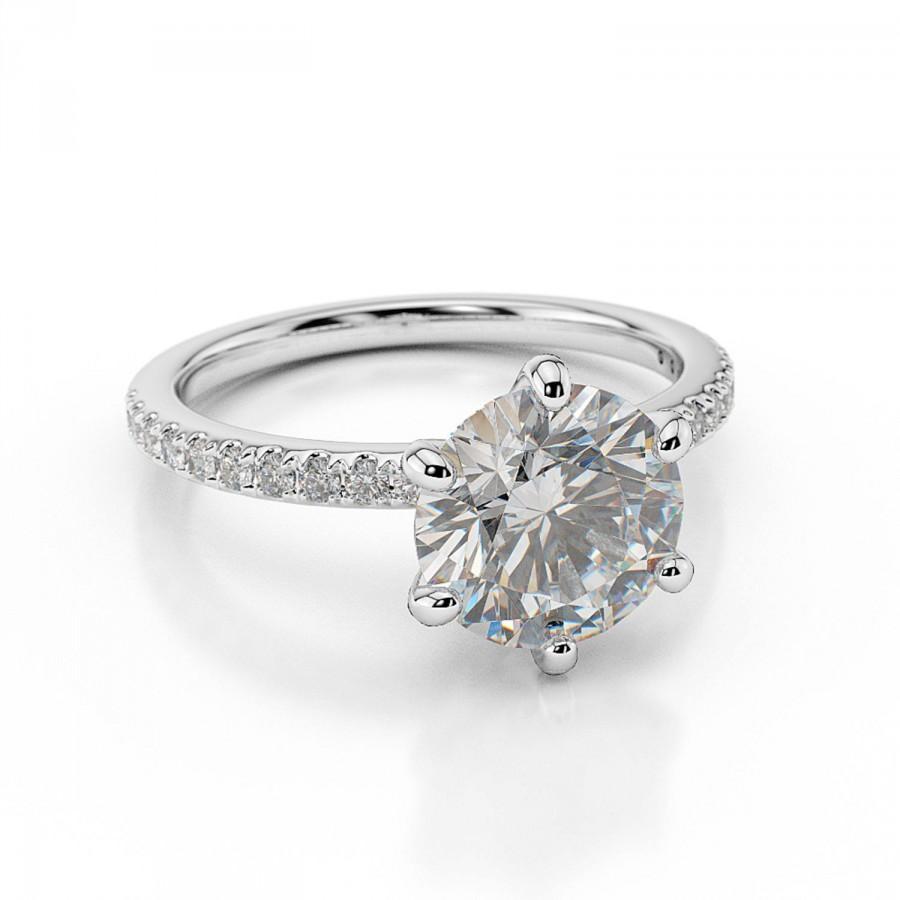 Hochzeit - 2.25CT White Gold Engagement Ring Round Cut Swarovski Pure Brilliance with Sidestones D/VVS1 14K