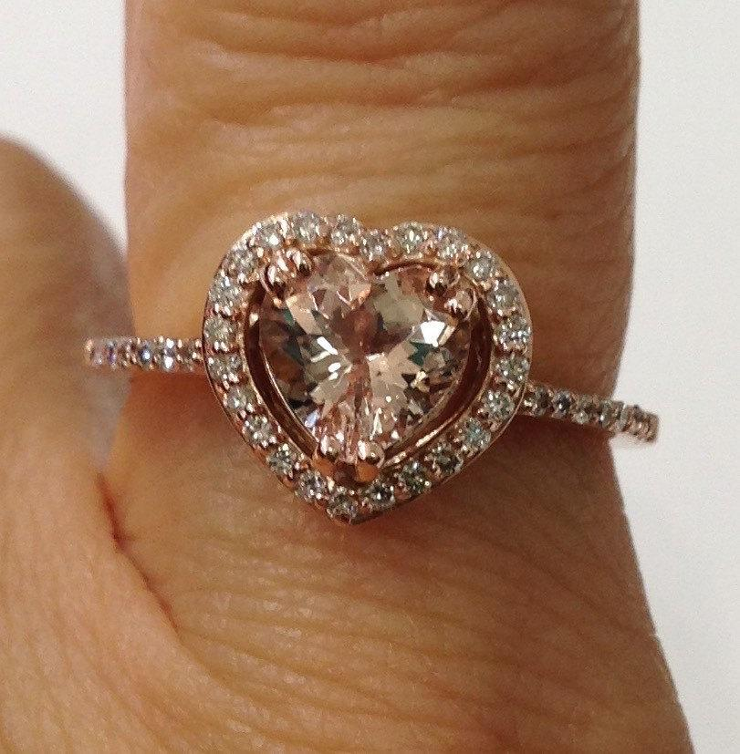 Свадьба - 14K Rose Gold Diamond Halo Heart Shaped Morganite Ring Pink Gold - Size 7