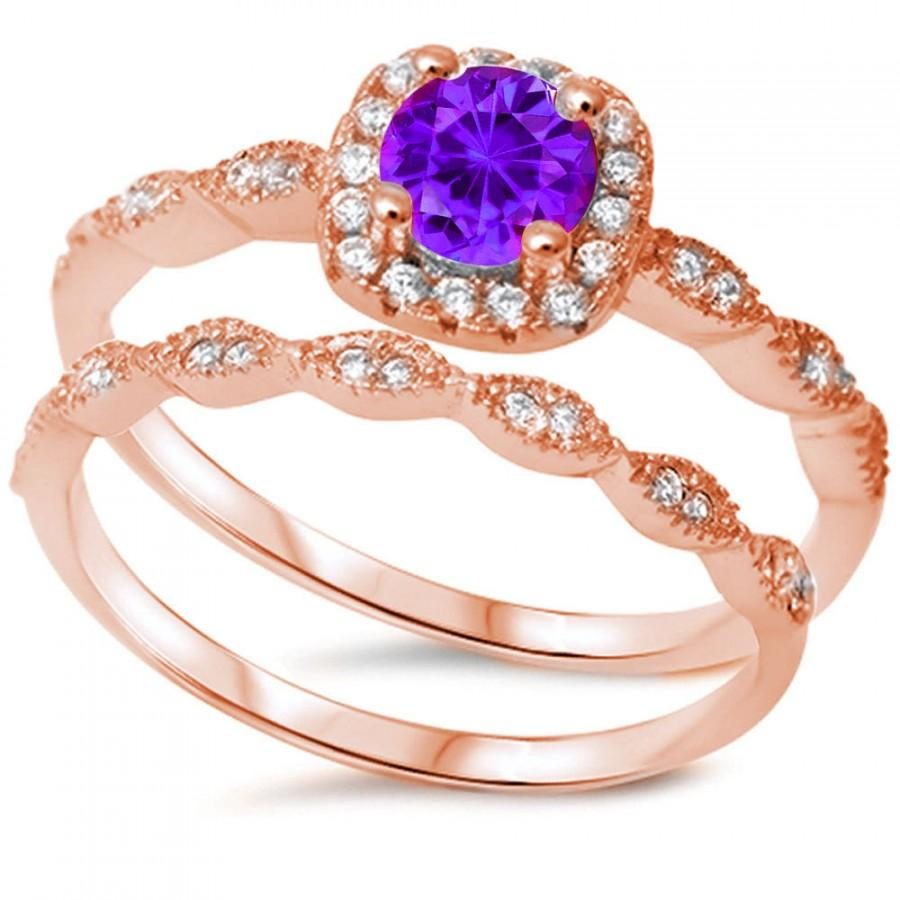 Свадьба - Rose Gold Vintage Wedding Engagement Ring Round Purple Amethyst Clear Diamond CZ Halo Two Piece Ring Band Bridal Set 925 Sterling Silver