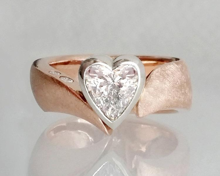 Heart Diamond Engagement Ring Two Tone Engagement Ring Heart
