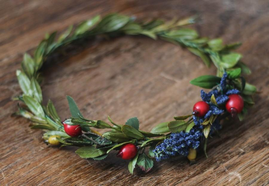 Свадьба - High Quality Synthetic Dark Blue+Deep Red and Mustard Berry Greenery Crown
