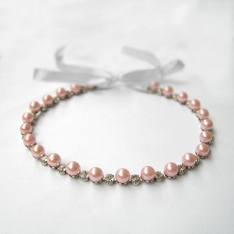 Pearl Tiara, Pink Pearl Headpiece, Wedding Hair Accessories, Pink ...