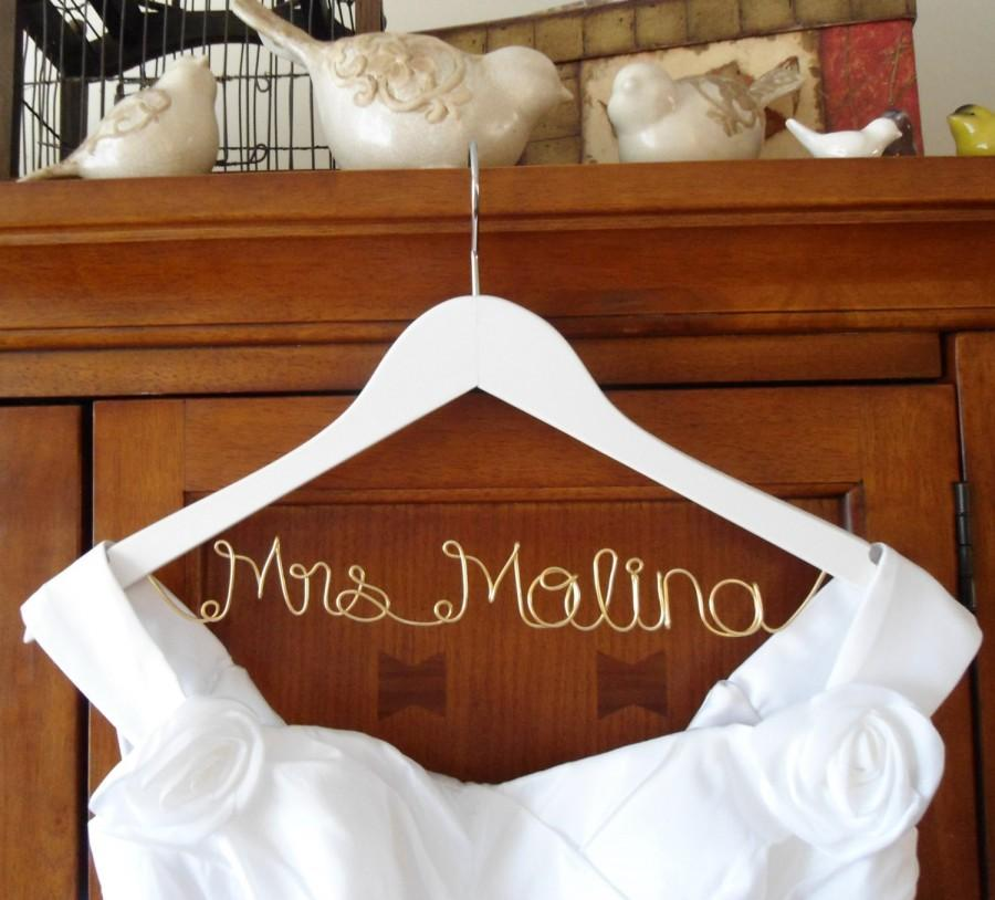 White personalized bridal hanger one line gold wire for Personalized wire wedding dress hanger
