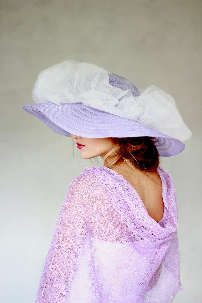 Mariage - Lilac Scarf Linen Shawl Sheer Wrap Bridesmaids Stole Linen Gauze Knitted Lace Scarf