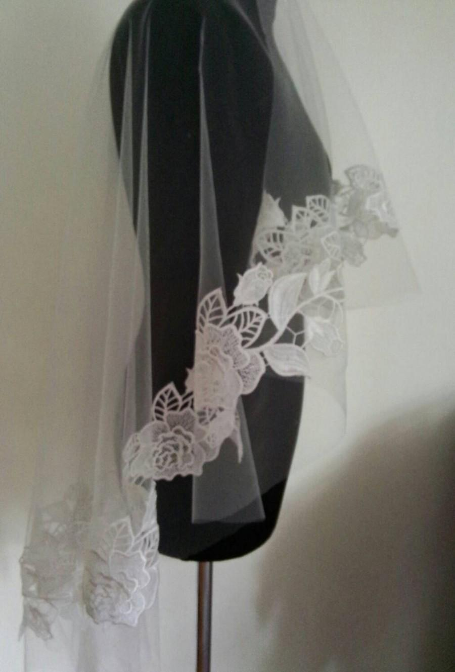 Mariage - FREEE Shipping !Royal alecon lace wedding veil, ivory lace veil, white veil, ivory veil, lace veil,white veil, white lace