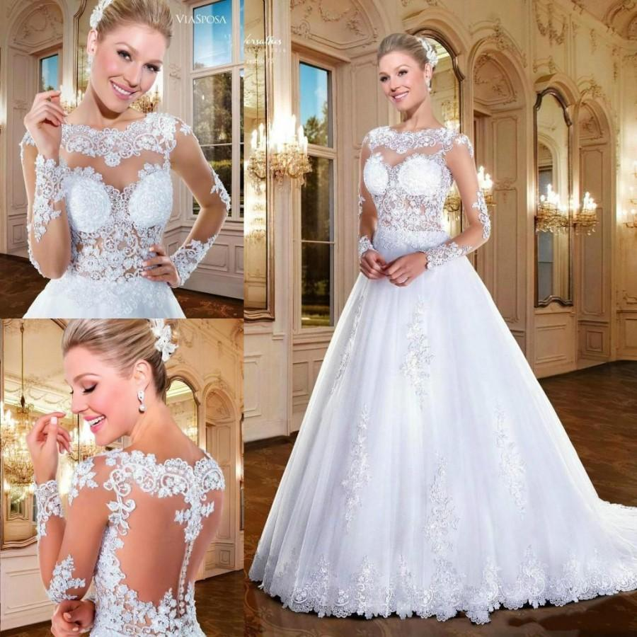 Mariage - Romantic Long Sleeve Wedding Dresses 2016 Spring Winter Illusion Appliques Lace Vestidos De Noiva Zipper Sheer Neck Bridal Ball Gown Online with $132.62/Piece on Hjklp88's Store