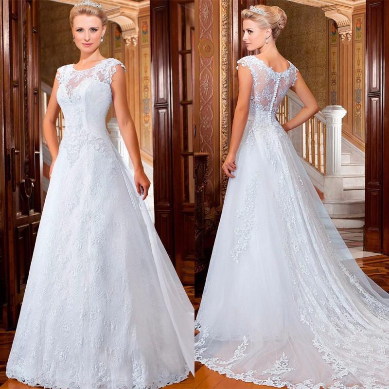 Mariage - Elegant Vestido De Noiva 2015 A-Line Lace Wedding Dresses Scoop Sheer Applique White Romantic Bridal Dresses Ball Gowns Chapel Train Online with $128.17/Piece on Hjklp88's Store