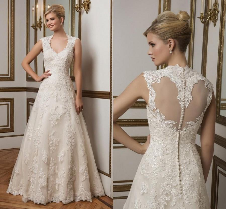 Modest justin alexander lace wedding dresses 2016 sheer for Modest a line wedding dresses