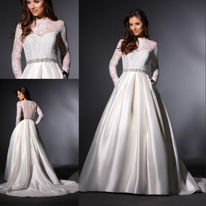 Düğün - Elegant Sheer A-Line Wedding Dresses Satin Long Sleeve Illusion Beads Sash Crew Neck Winter 2015 Sheer Bridal Ball Gowns Chapel Train Online with $131.73/Piece on Hjklp88's Store