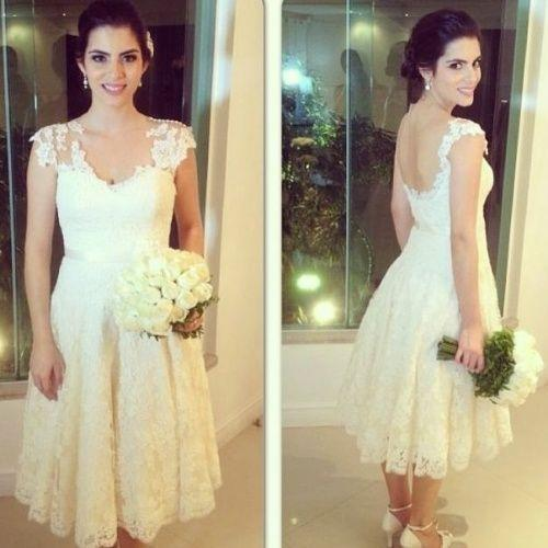 Hochzeit - Amzing Short Beach Spring Wedding Dresses Lace Applique V-Neck 2015 Garden Capped Sleeveless A-Line Knee Length Bridal Ball Dresses Gowns Online with $101.47/Piece on Hjklp88's Store