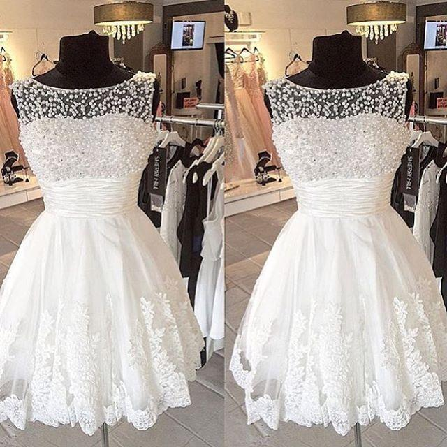 Real Picture Short Beach Wedding Dresses 2015 Lace Beads Sheer
