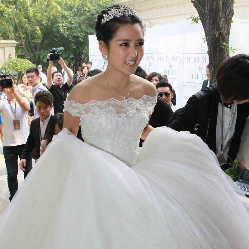 Stunning 2015 Wedding Dresses Real Image Bridal Gowns Applique Off ...