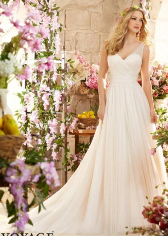 Simple Style A Line Garden Wedding Dresses Spring V Neck Sleeveless Sheer 2016 Bodice With Tulle Bridal Dress Ball Gowns Sweep Length Online
