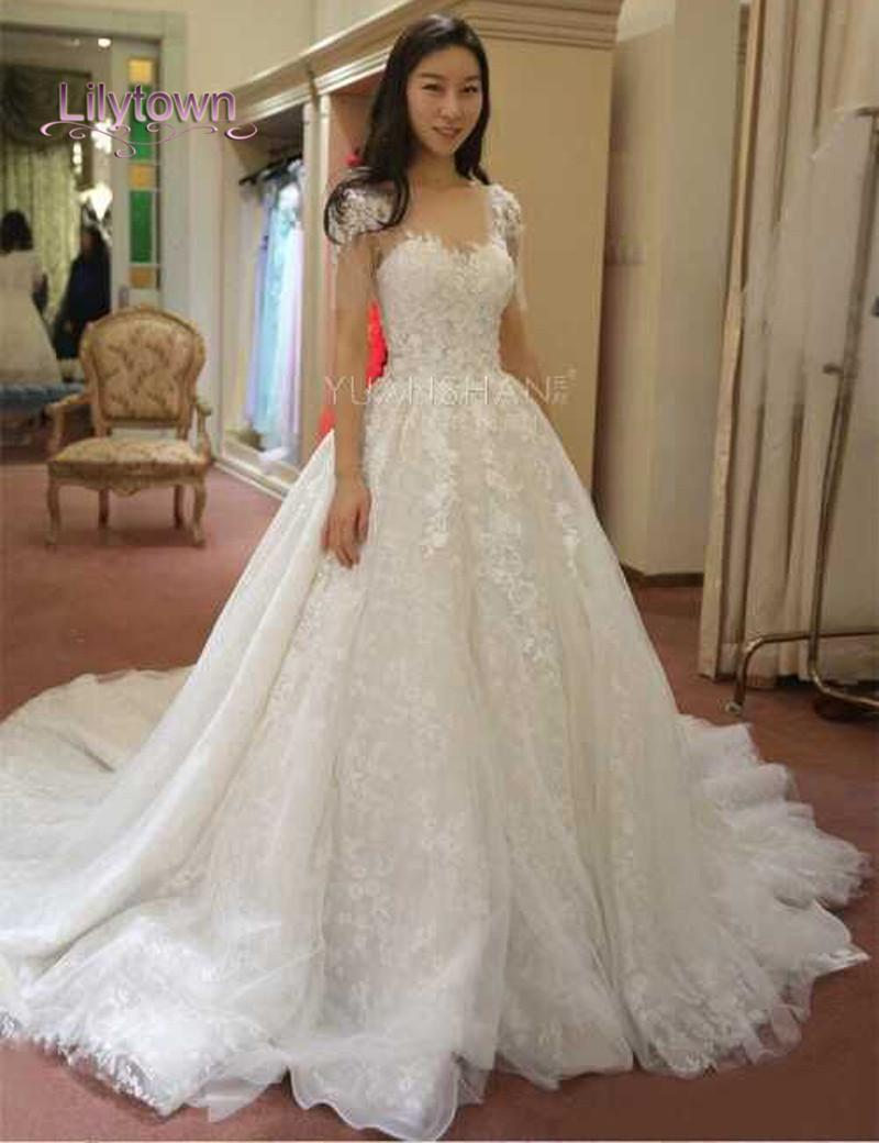 Glamourous lace applique capped wedding dresses sweetheart for Shop online wedding dresses