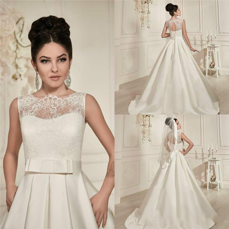 Elegant 2015 wedding dresses lace sheer crew neck see for Crew neck wedding dress