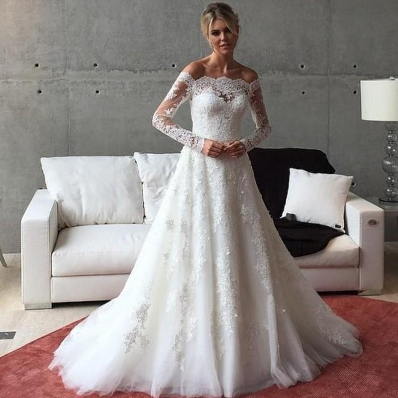 Vintage Lace Lique Wedding Dresses With Long Sleeves A Line 2017 Winter White Off Shoulder Sweep Train Bridal Ball Gowns Online