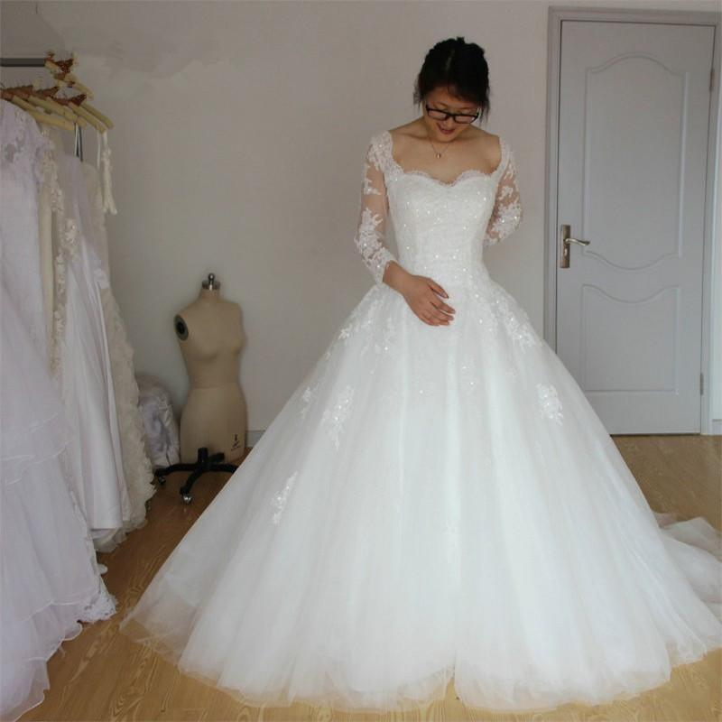 Vintage Real Image Plus Size Tulle Wedding Dresses With