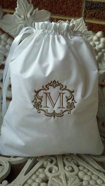 Mariage - Custom Monogrammed - Embroidered Cotton Drawstring Shoe Bag