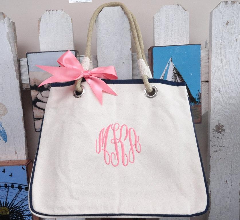 Mariage - Set of 6 Monogrammed Canvas Totes, Personalized Bridesmaid Gift Tote Set of 6