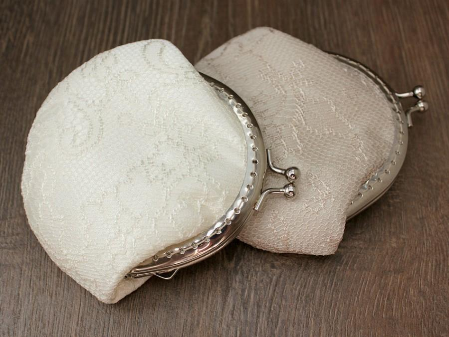 Mariage - Ivory Lace Coin purse - Blush Clutch - Wedding Bridal Clutch - Wedding Bridesmaid Small Lace Clutch - Wedding Ring Holder - Party Gift - Set