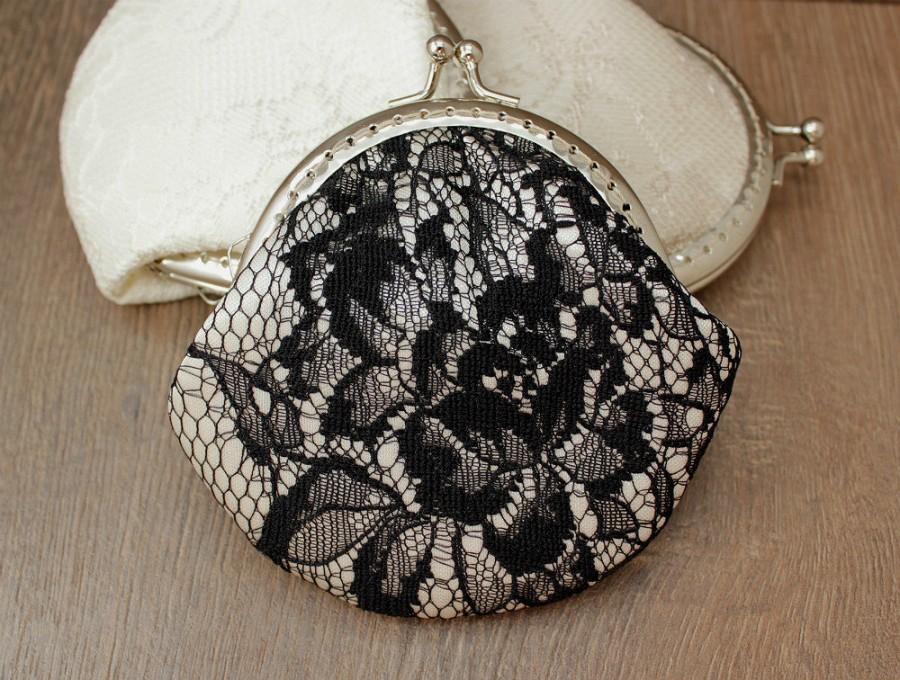 زفاف - Lace Coin purse Wedding Bridal Clutch Wedding Bridesmaid Small Lace Clutch Wedding Ring Holder Party Gift Set 3, 5, Black White Ivory